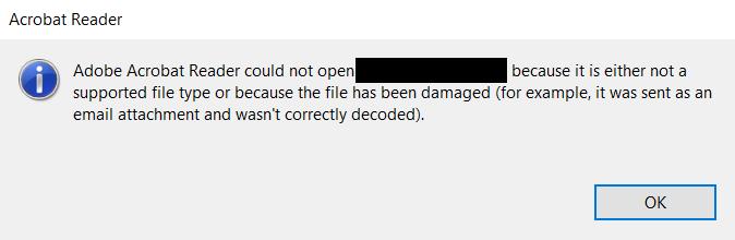unsupported file error in pdf reader