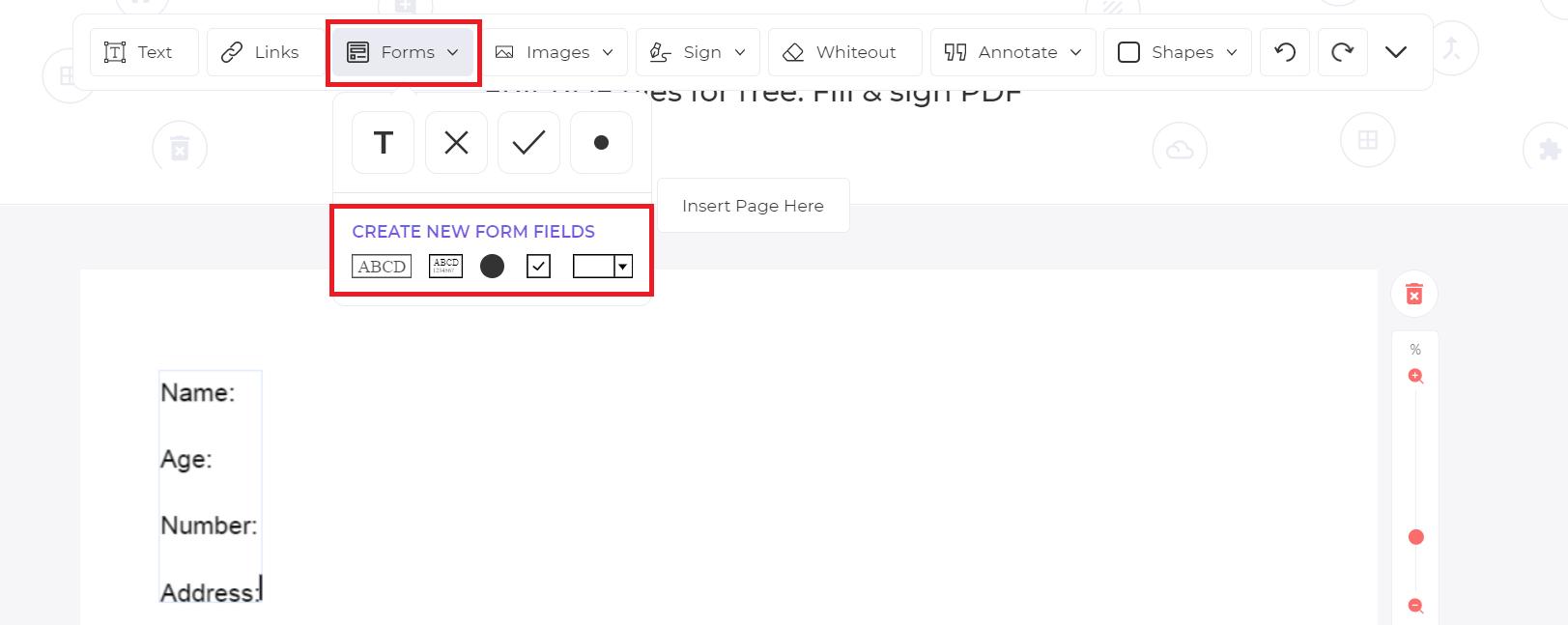 PDF form fields