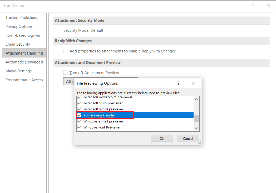 disable by unticking the box for PDF preview
